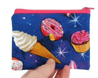 Coin Purse - Coin Bag - Change Purse - Small Cosmetic Bag - Zipper Pouch - Change Pouch in Deserts in Space