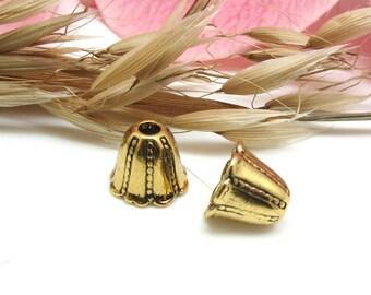 Destash-20% - set of 10 Metal Cones caps old gold - 10 * 12 mm