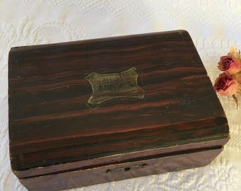Antique Child's Sewing Box. Faux Wood Grain Painted Little Wooden Sewing Box and Contents. 1800s-Early 1900s Fabric Scraps. Some Stitched.