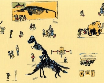 Heather Ross - Munki Munki Fabric - Natural History Museum Field Trip Dinosaurs - OOP Out Of Print VHTF