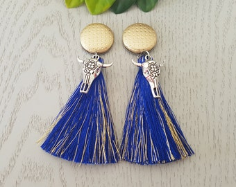 Blue/Gold Cowgirl Tassel Earrings - Hypo-Allergenic