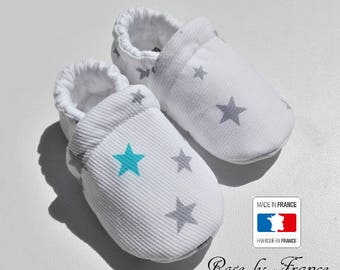 LAST PIECES * turquoise and grey star cotton baby shoes