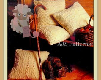 PDF Knitting Pattern For 4 Classic Cushions - Cottage Chic and Rustic - Instant Download