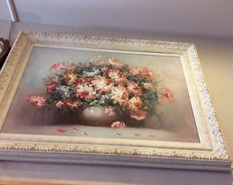Floral Oil Painting in a white frame