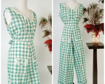 Vintage 1930s Beach Pyjamas - Rare 30s Cotton Gingham Tailored Jumpsuit in Green and White Check with Cute Pocket and Straight Legs