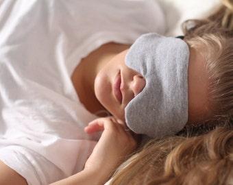 Masque de sommeil en tricot coton gris chiné