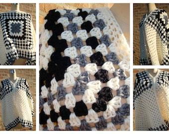 Off White / Black and Grey Blend  Poncho/ Crochet Poncho/ Crochet Granny Square Poncho/ Collar Poncho/ Spring Poncho/ Bohemian Poncho