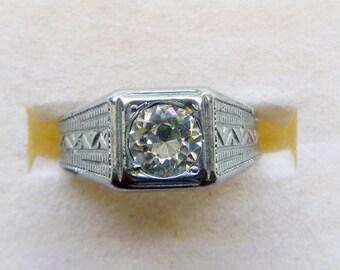 Art Deco 1930s clear paste rhinestone unisex mens chrome ring various sizes NOS
