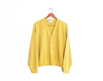 vintage cardigan / grandpa cardigan / mustard cardigan / 1970s mustard yellow grunge cardigan Large