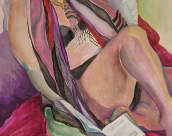 "Fine Art, Handmade, Watercolor Painting: ""Paris Poet With Book and Scarf"", Female Figure Painting"