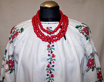 Antique Embroidered Cross Stitched Peasant Dress. Ukrainian Vyshyvanka. Folk Dress. Wooden Necklace - as a GIFT!