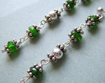 Emeraude earrings - chrome diopside & sterling silver