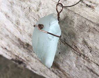 Wrapped Sea Glass Necklace - Ice