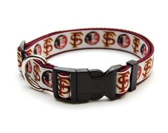 "FSU Dog Collar Florida State Seminoles 1"" Adjustable Handmade  **NEW**"