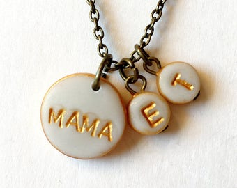 Small Simple Stamped Mama Necklace