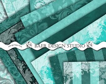 TURQUOISE DIGITAL PAPER:Digital Paper Floral, Teal Textured Digital Paper, Turquoise Damask Digital Paper, 50% off Teal Digital Paper, 16061