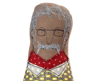 3d soft sculpture , textile doll , man doll , dad gift , mustache , mini me doll , for him , fabric portrait , family decor , office decor