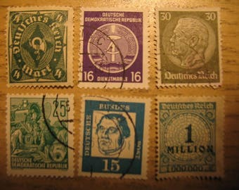 German Postage Stamps Set of 6