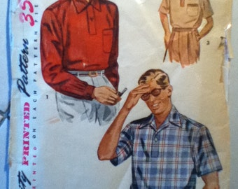 "Simplicity Vintage Man's Sport Shirt Pattern 4544  Size: Large, Chest 40""42"""