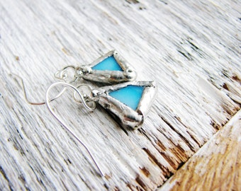 Pale Blue Glass Earrings, Stained Glass Earrings, Soldered Earrings, Silver Earrings, Rustic Glass Earrings, Minimalist Earrings