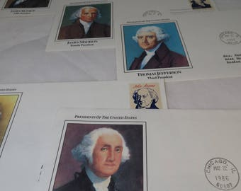 Vintage Postage Stamps Lot, US Presidents First Day Covers, Stamp Collectors Stock Book, 1972 Olympics, Love Stamp