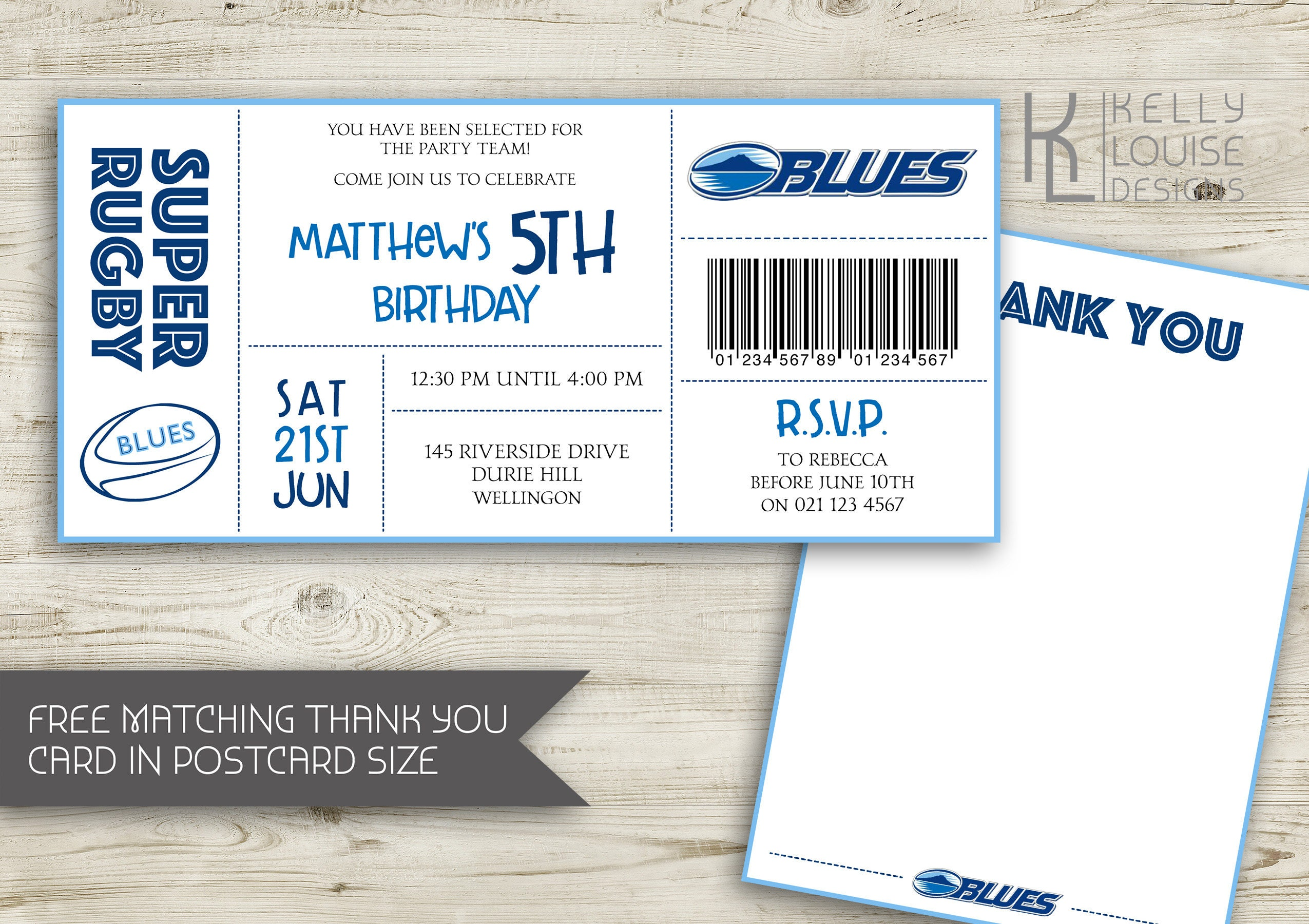 Auckland blues birthday invitation rugby birthday party new auckland blues birthday invitation rugby birthday party new zealand rugby super rugby party rugby ticket invitation nz rugby 162 stopboris Image collections