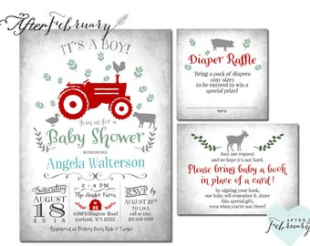3-Piece Tractor Baby Shower Invitation + Raffle + Book Request Insert Farm  Baby Boy Shower Shower - Printable No.783BABY