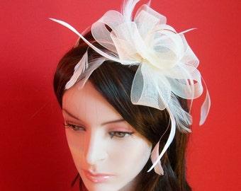 Handmade Ivory Fascinator Headband Weddings Evening wear Races Hair Accessory
