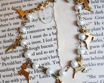 Whimsical Deer Pearl Charm Bracelet