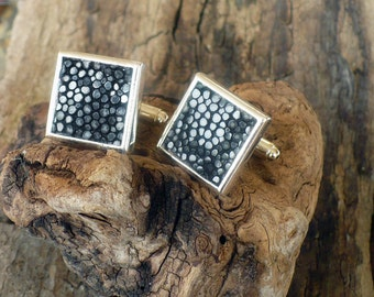Designer cuff links, stingray leather cuff links, elegant groom and best men, square cuff links