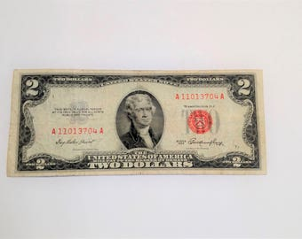 Uncirculated 1953 K Paper Two 2 Dollar Bill - US Currency Money Collector - Red Seal