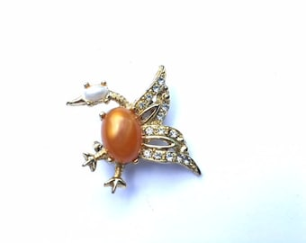 Tangerine Jelly Belly Bird Brooch Scatter Pin Retro Fashion Figural Jewelry