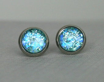Glacier - Blue - Color Shifting - Stainless Steel Stud Earrings