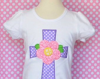 Personalized Cross with Flower Applique Shirt or Bodysuit Girl or Boy