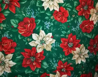 Green, Red and White Poinsettia Fabric