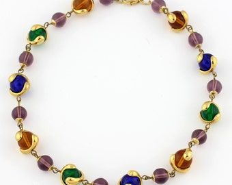 Colored Glass Beads Necklace, multi-color glass beads held with gold tone caps, gold tone clasp. KO914315