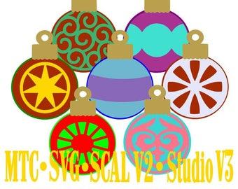 SVG Cut File Ornament Design #02 Holiday Gift Tag MTC SCAL Silhouette Cricut Cutting Files
