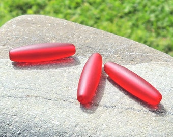 cultured sea glass barrel beads, recycled beads, Cherry red 30x8 mm, 7 pcs