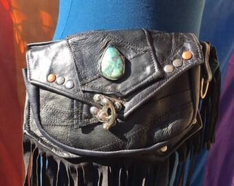 OOak RADWEAR Pocket Belt w 5 pockets.  Upcycled Black leather with fringe and inlaid Labradorite with quartz.  5 pockets