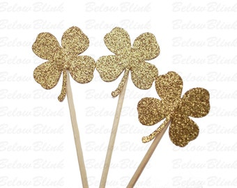 24 St. Patrick's Day Glitter Gold Shamrock Four-Leaf Clover Cupcake Toppers - No650