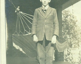 Antique Boy Standing on Porch Victorian Hammock Suit Teenage Man Vintage Photograph Black White Sepia Photo