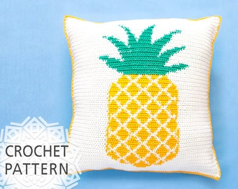 "Pineapple pillow, Crochet Pattern, Pillow cover, Pineapple chart, Easy, Cushion, Home decor, 16""X16"", Summer Cushion, Download PDF"
