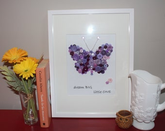 Personalized Butterfly Nursery Picture, Baby Shower Gift, Baby Girl, Button Art, Nursery Decor, Purple Butterfly, Girls Bedroom Art