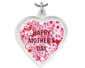 Happy Mother's Day Heart Keyring, Heart Flowers Keyring