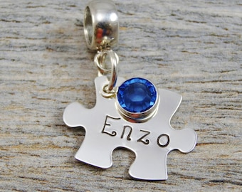 Hand Stamped Jewelry - Personalized Jewelry - Charm For Bracelet - Sterling Silver Puzzle Piece - Name - Lobster Clasp or Slider Bail