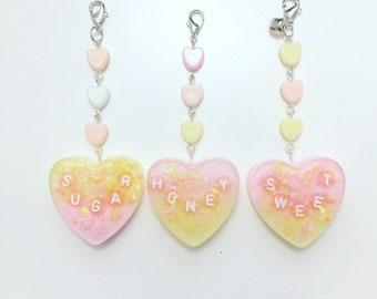Mini Letter Heart Charms