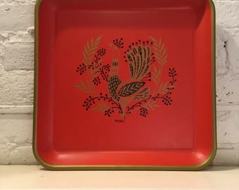 """Mid Century Red Metal Fancy Gold Bird Tray """"Maxey"""""""