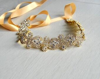 Gold Rhinestone Bridal Headband, Great Gatsby Crystal Bridesmaid Flower girl Wedding Bridal ribbon Headband Headpiece 1920s Flapper headband