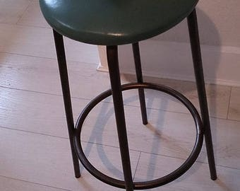 Teal Green Leather Round Metal Stool