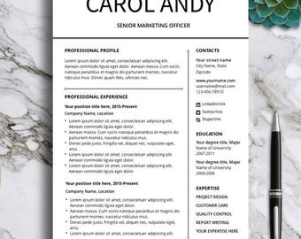 Professional Resume Template 2 page, CV Template for MS Word & Pages, Modern Resume, Creative Resume, Simple Resume, Instant Download